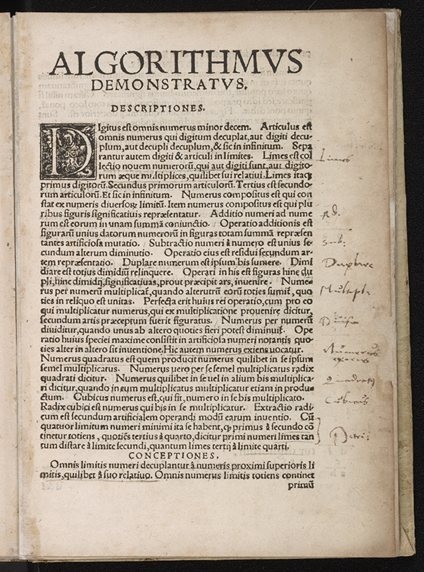 First page of Algorithmus Demonstratus, Regiomontanus, 1534