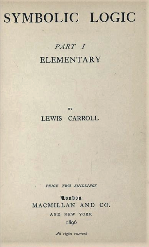 Title page of Symbolic Logic, Part I by Lewis Carroll/Charles Dodgson, 1896