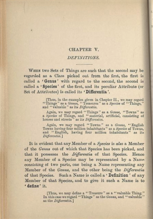 Page 1 of chapter 5 from Symbolic Logic, Part I by Lewis Carroll/Charles Dodgson, 1896