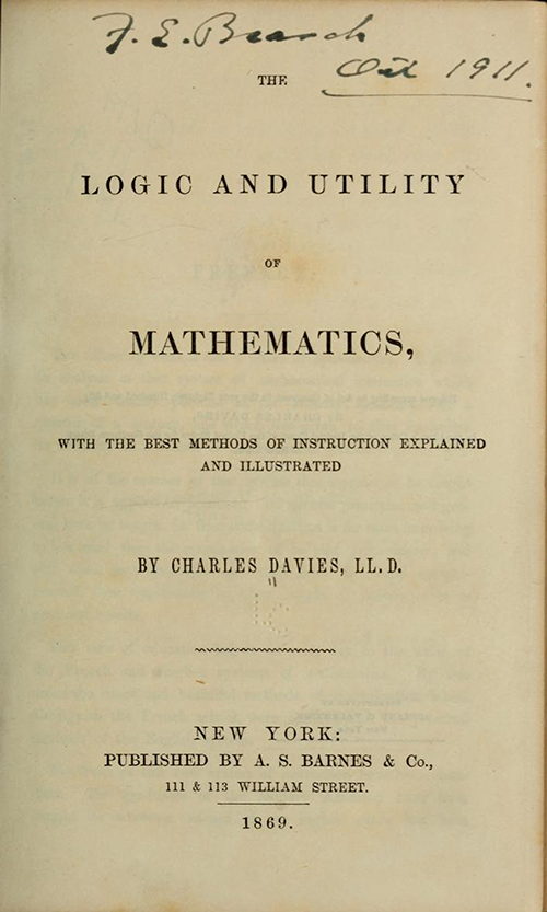 Title page, Charles Davies's The Logic & Utility of Mathematics