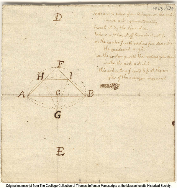 Construction of octagon by Thomas Jefferson