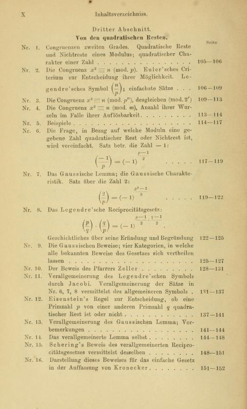 Third page of table of contents for Die Elemente der Zahlentheorie by Paul Bachmann, 1892