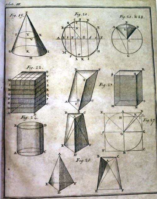 Page of solid geometry diagrams from The Complete Accountant by Joseph Fenn, 1772