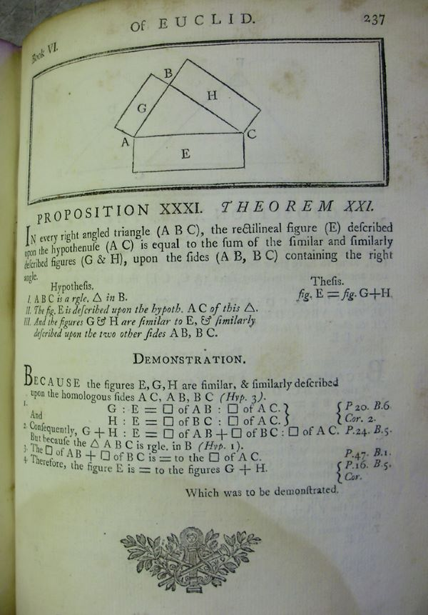 Propostion 31 from Book 6 of Euclid's Elements, edited by Joseph Fenn, 1769