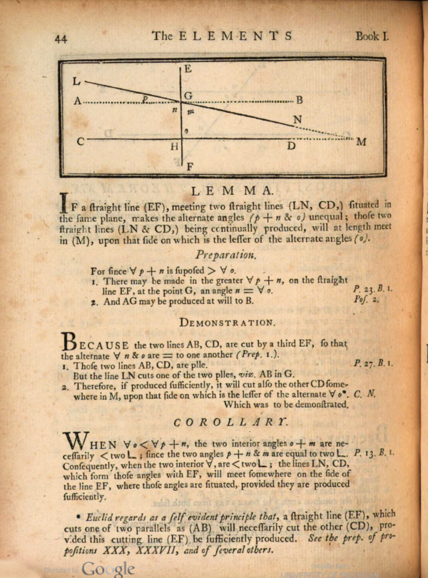 Page 44 of Euclid's Elements, edited by Joseph Fenn, 1769