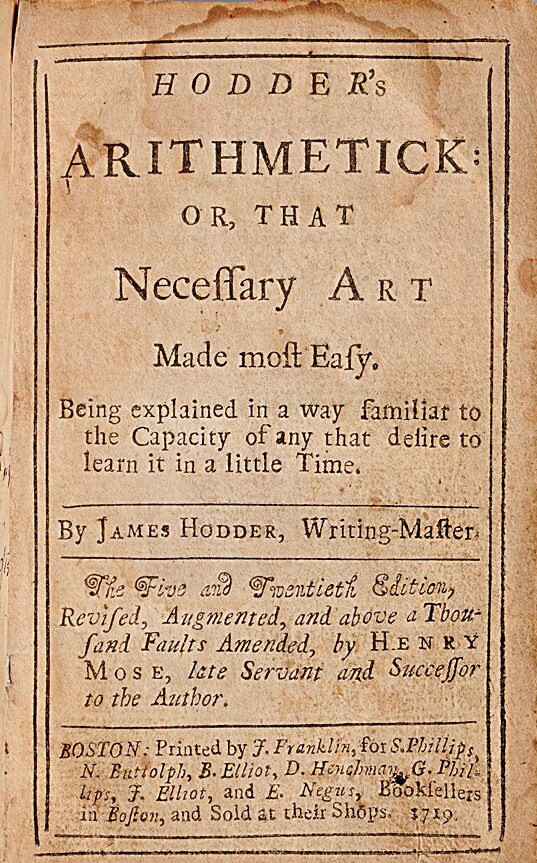 Title page of Hodder's Arithmetick by James Hodder, 25th edition, 1719.