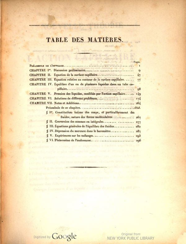 Table of contents from Nouvelle théorie de l'action capillaire by Siméon-Denis Poisson, 1831