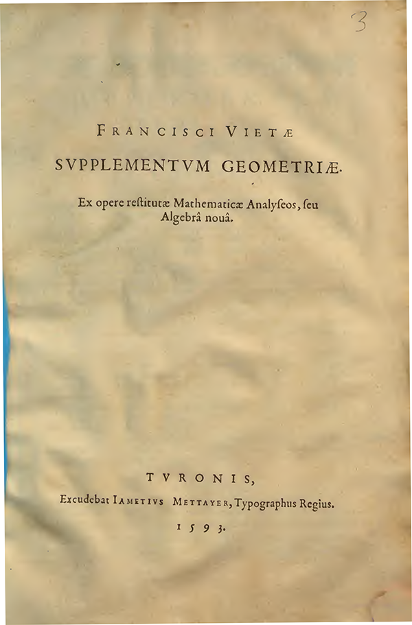 Title page of Supplementum Geometriae by Francois Viete, 1593