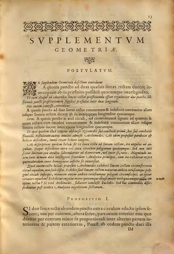 First page of Supplementum Geometriae by Francois Viete, 1593