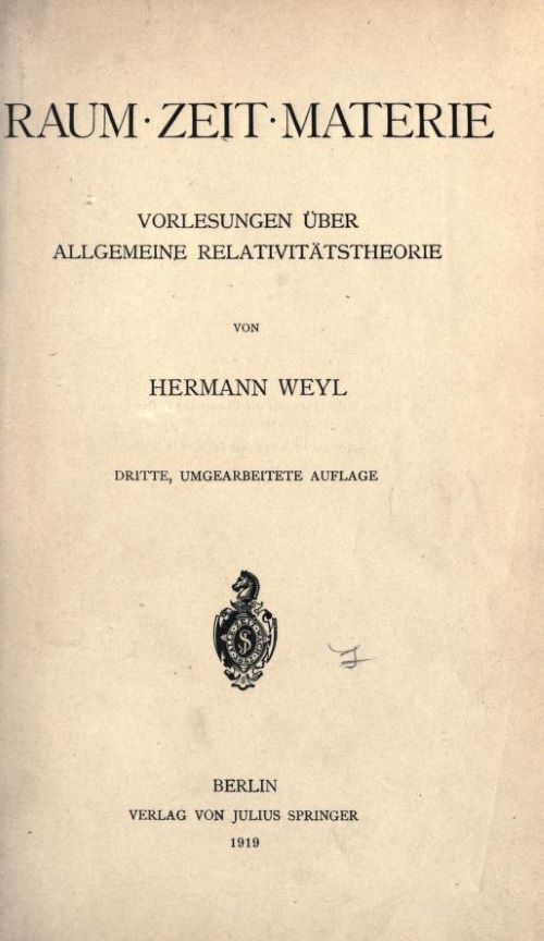 Title page of Raum. Zeit. Materie. by Herman Weyl, 1919