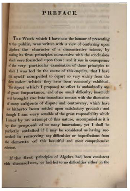 First page of Preface to Treatise on Algebra by George Peacock, 1830