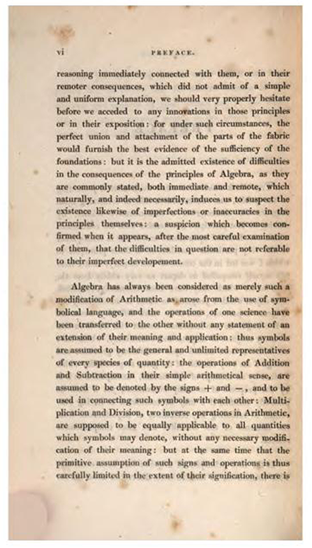 Second page of Preface to Treatise on Algebra by George Peacock, 1830