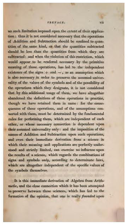 Third page of Preface to Treatise on Algebra by George Peacock, 1830