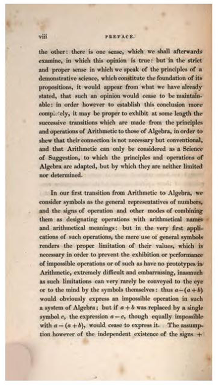 Fourth page of Preface to Treatise on Algebra by George Peacock, 1830