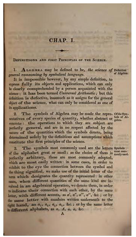 First page of Treatise on Algebra by George Peacock, 1830