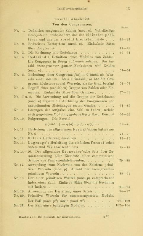 Second page of table of contents for Die Elemente der Zahlentheorie by Paul Bachmann, 1892