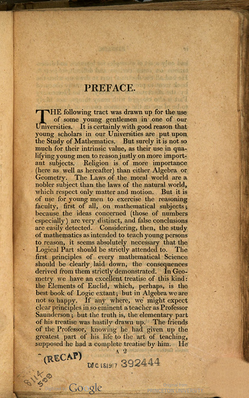 First page of Preface to Rudiments of Mathematics by William Ludlam, 1809 edition