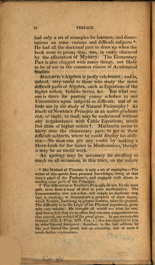 Second page of Preface to Rudiments of Mathematics by William Ludlam, 1809 edition