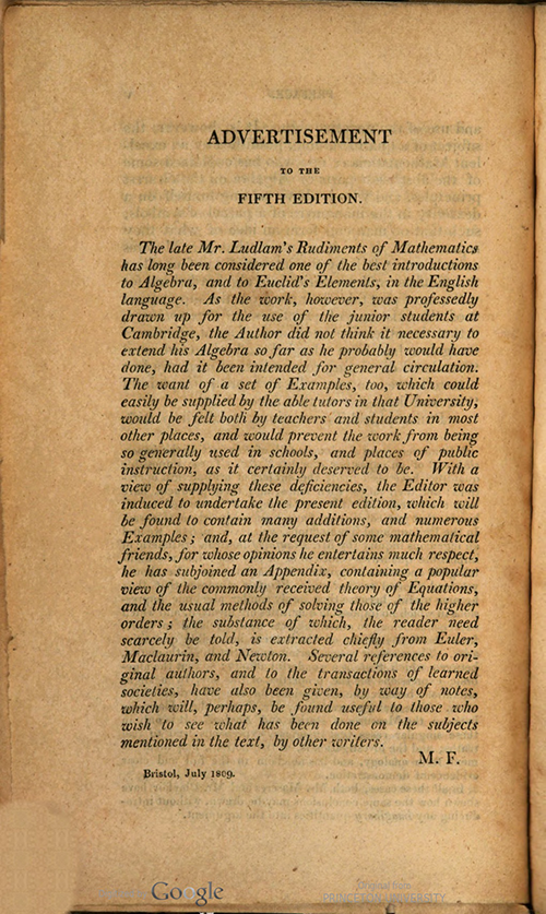 Editor's Advertisement to Rudiments of Mathematics by William Ludlam, 1809 edition