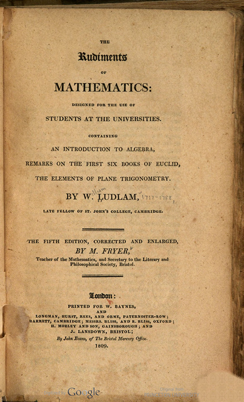 Title page of Rudiments of Mathematics by William Ludlam, 1809 edition