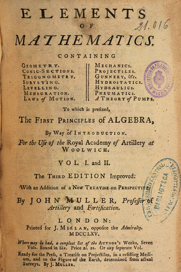 Title page of Elements of Mathematics by John Muller, 1765