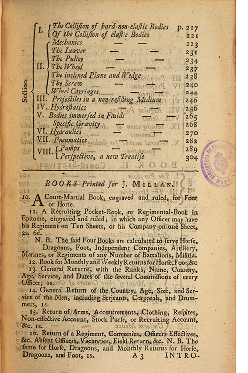 Second page of table of contents for Elements of Mathematics by John Muller, 1765