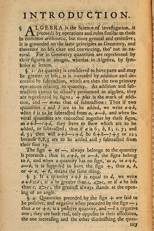 First page of Introduction for Elements of Mathematics by John Muller, 1765