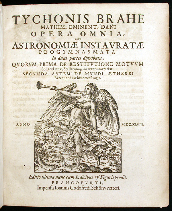 Title page of Astronomiae instauratae progymnasmata by Tycho Brahe, 1648
