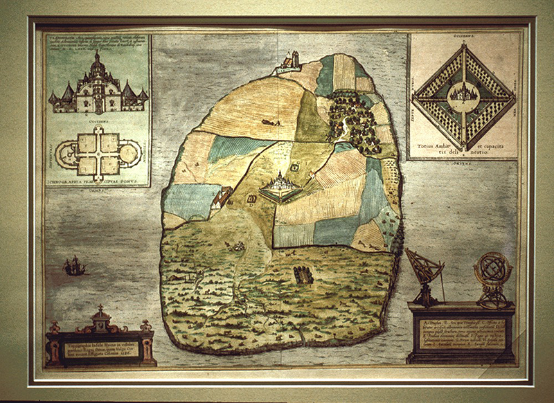 Colored print of Hven from Civitates orbis terrarum by Georg Braun and Franz Hogenberg, 1598