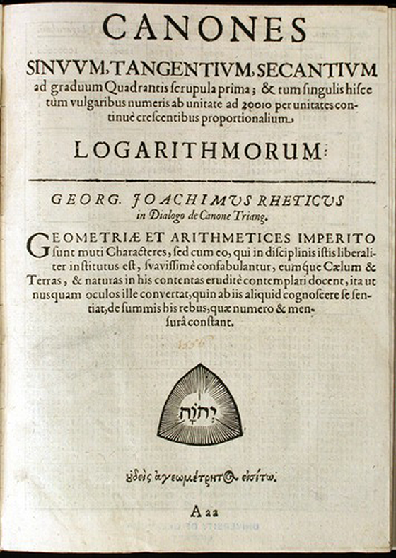 First page of chapter Canones ... logarithmorum from Clavis universi trigonometrica by Georg Ludwig Frobenius, 1634