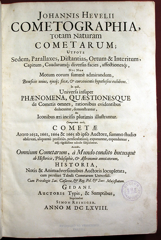 Title page of Cometographia by Johannes Hevelius, 1668