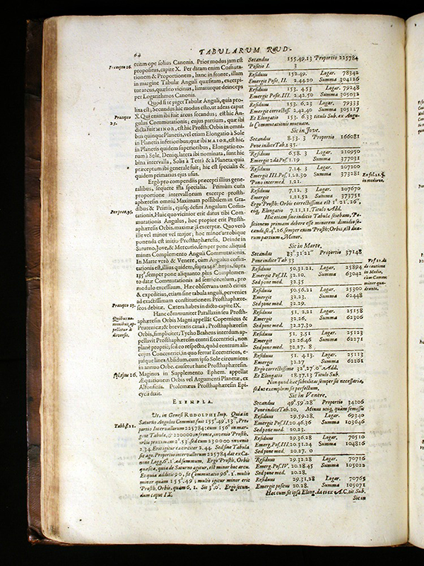 Page 64 of Tabulae Rudolphinae by Johann Kepler, 1627