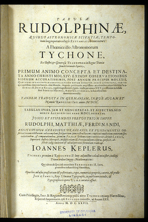 Title page of Tabulae Rudolphinae by Johann Kepler, 1627