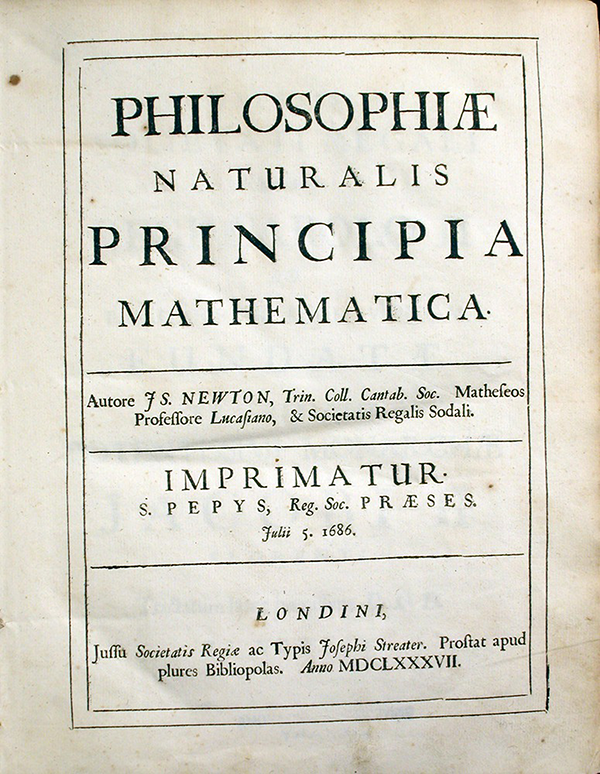 Title page of Philosophiae Naturalis Principia Mathematica by Isaac Newton, 1687