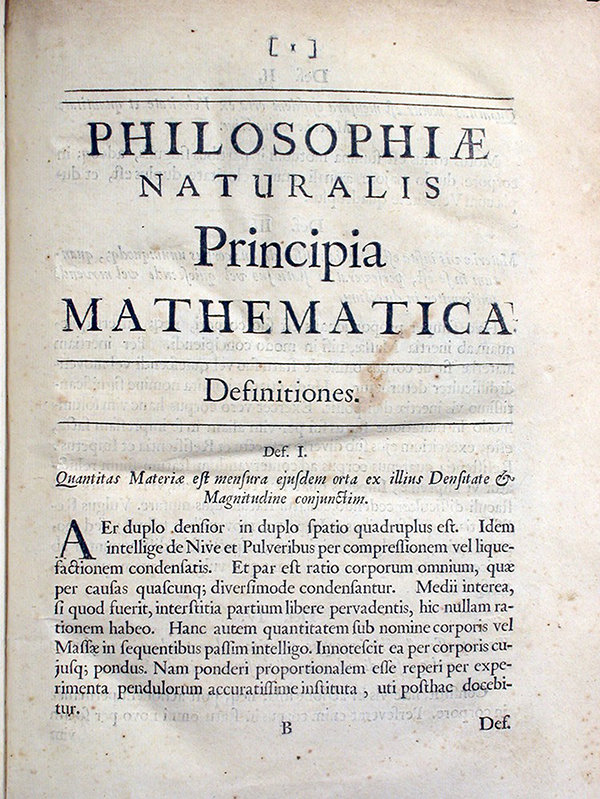 First page of Philosophiae Naturalis Principia Mathematica by Isaac Newton, 1687