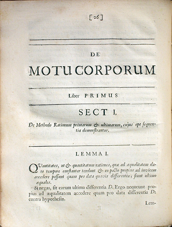 Page 26 of Philosophiae Naturalis Principia Mathematica by Isaac Newton, 1687