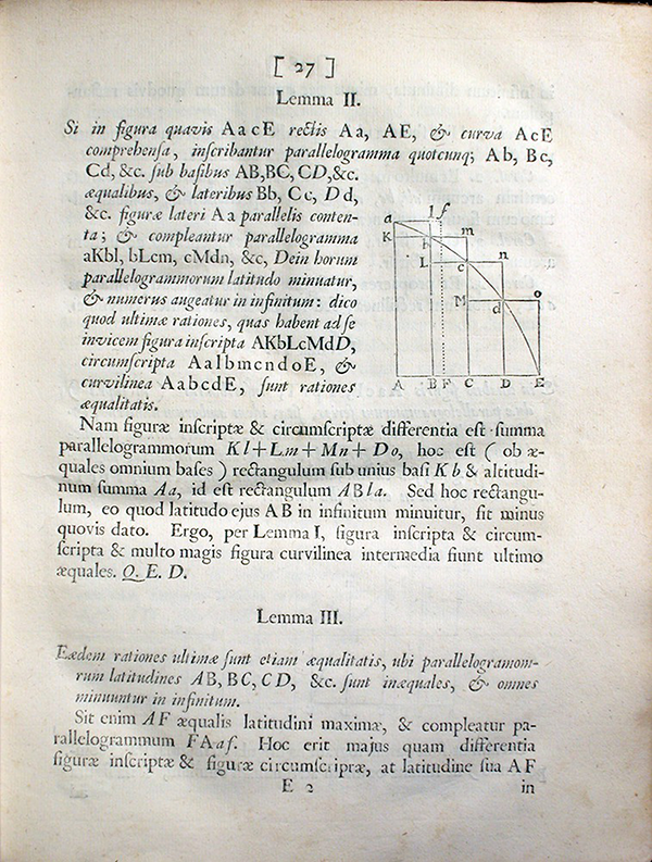 Page 27 of Philosophiae Naturalis Principia Mathematica by Isaac Newton, 1687