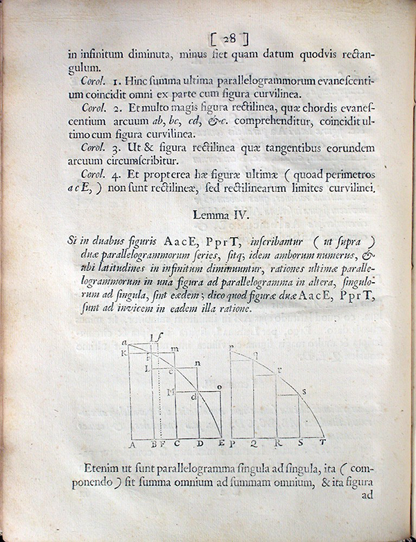 Page 28 of Philosophiae Naturalis Principia Mathematica by Isaac Newton, 1687