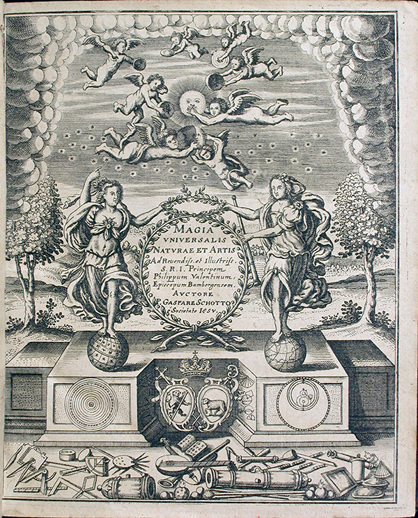 Frontispiece of the first volume to Magia universalis naturae et artis by Gaspar Schott, 1657