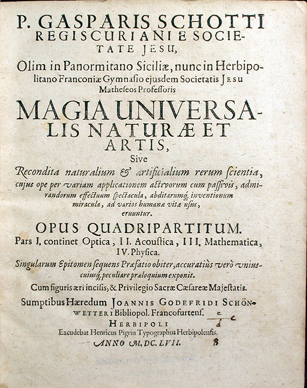 Title page of the first volume to Magia universalis naturae et artis by Gaspar Schott, 1657