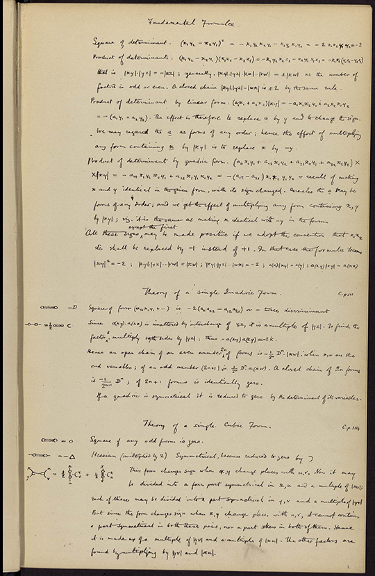 Facsimile of handwritten manuscript from Mathematical Fragments by William Clifford, 1881