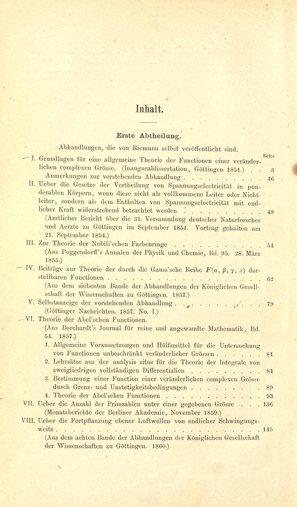 Table of Contents for Riemann's Gesammelte Mathematische Werke (first page)