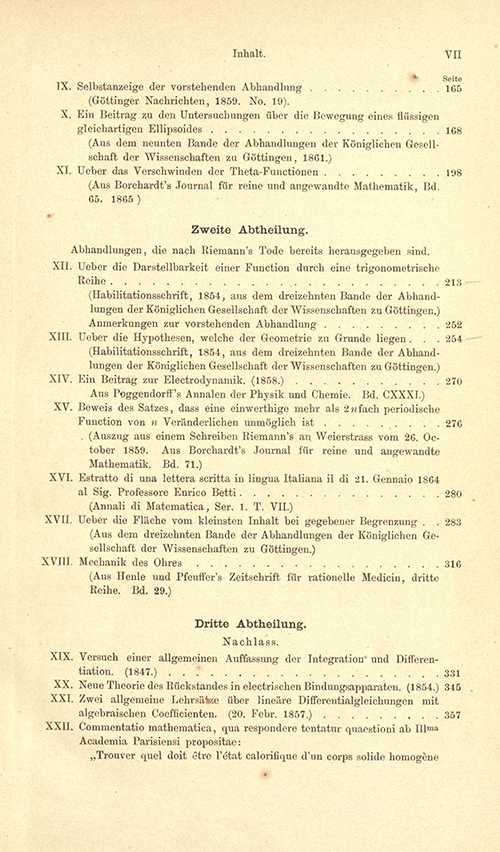 Table of Contents for Riemann's Gesammelte Mathematische Werke (second page)