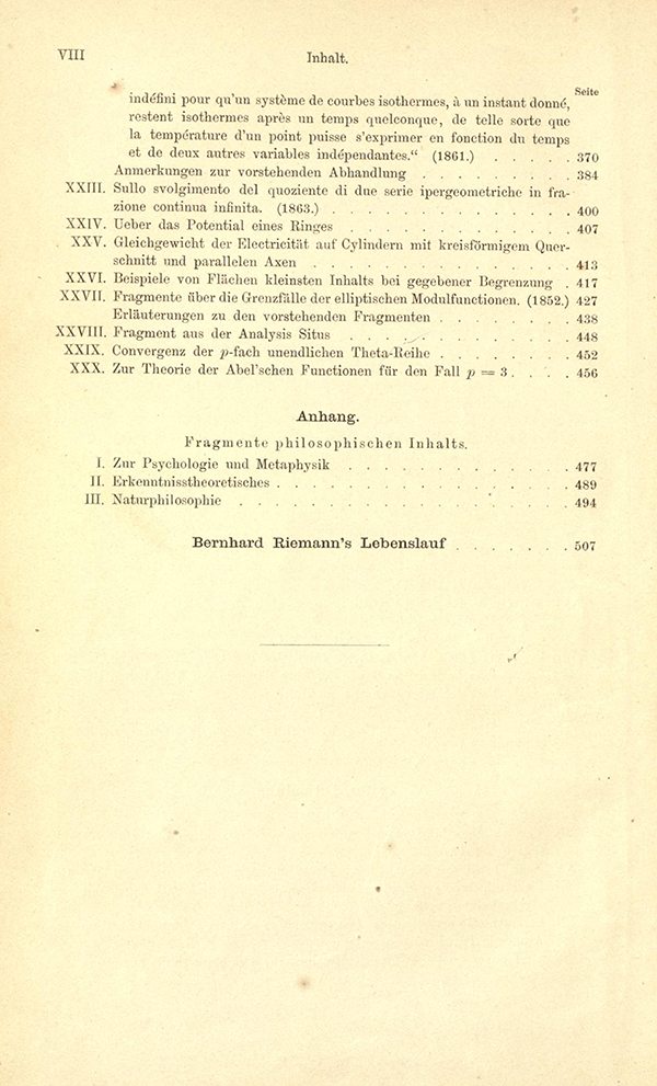Table of Contents for Riemann's Gesammelte Mathematische Werke (third page)