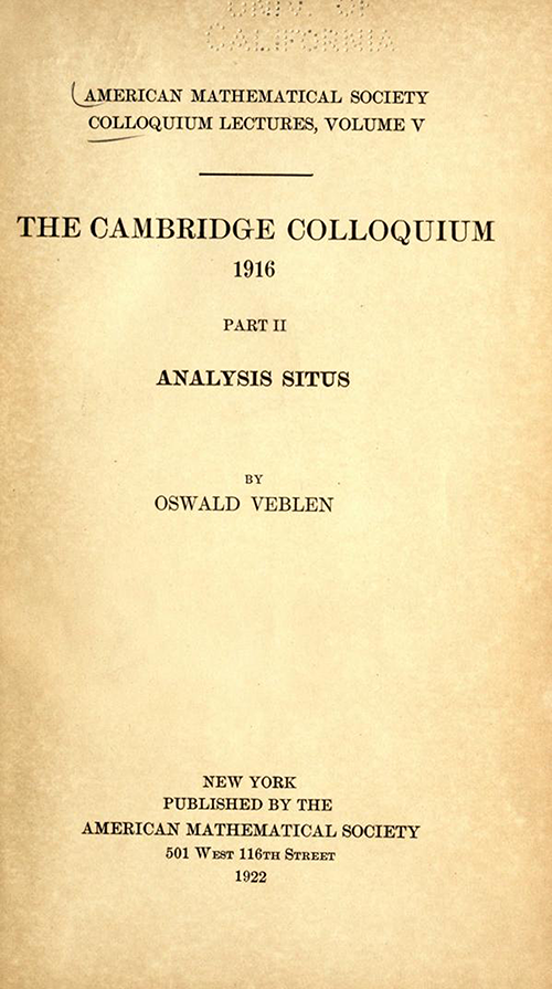 Title page of Analysis Situs by Oswald Veblen (second part of AMS Cambridge Colloquium 1922)