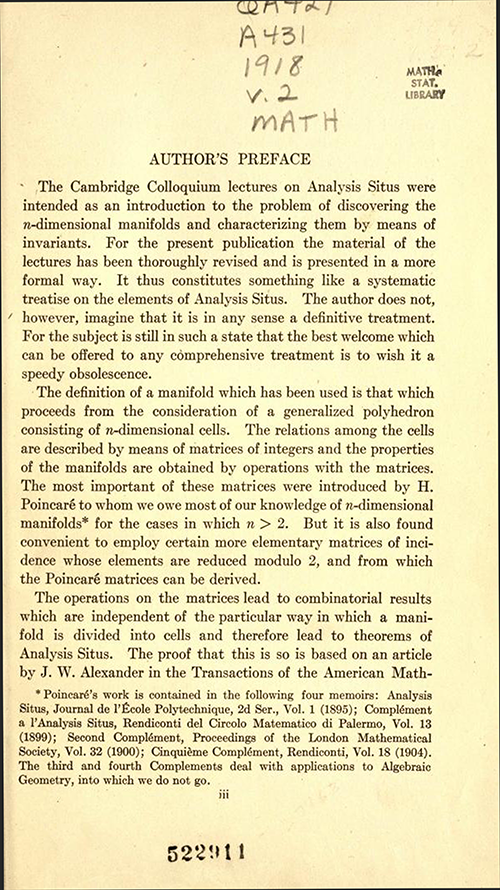 First page of preface to Analysis Situs by Oswald Veblen (second part of AMS Cambridge Colloquium 1922)
