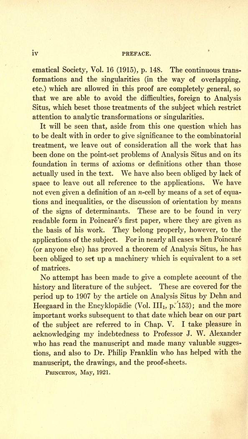 Second page of preface to Analysis Situs by Oswald Veblen (second part of AMS Cambridge Colloquium 1922)