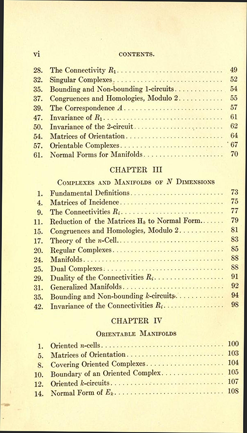 Second page of table of contents to Analysis Situs by Oswald Veblen (second part of AMS Cambridge Colloquium 1922)