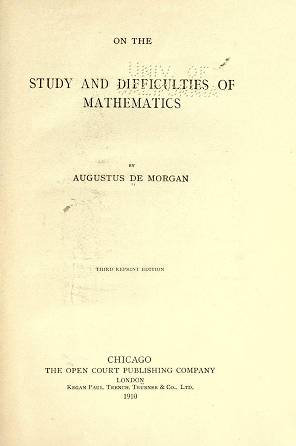 Title page of On the Study and Difficulties of Mathematics by Augustus De Morgan