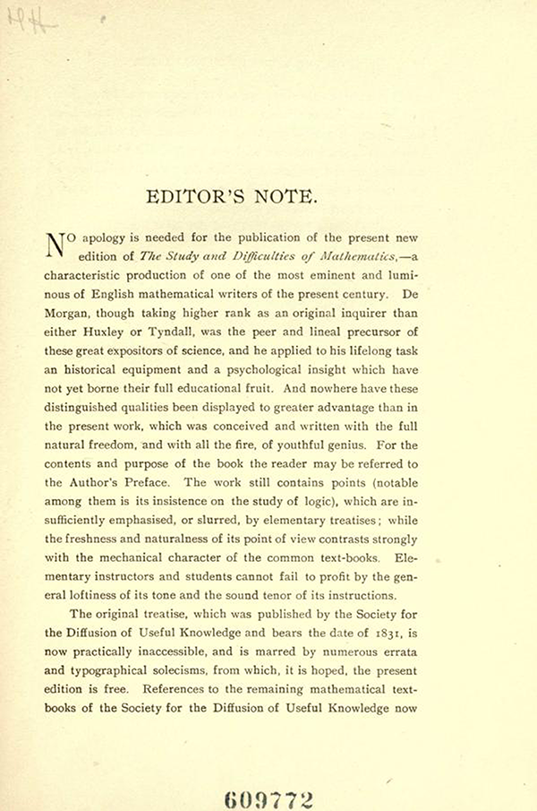 Page 1 of the Editor's Note in On the Study and Difficulties of Mathematics by Augustus De Morgan